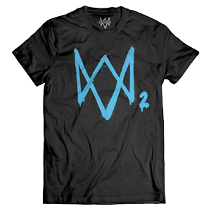Camiseta Watch Dogs 2 Logo Neon Azul Talla M