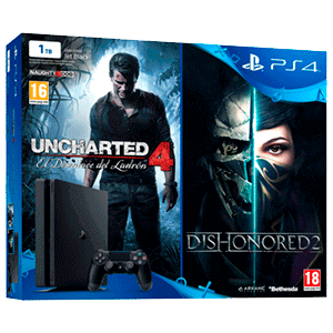 Playstation 4 Slim 1 Tb + Uncharted 4 + Dishonored 2